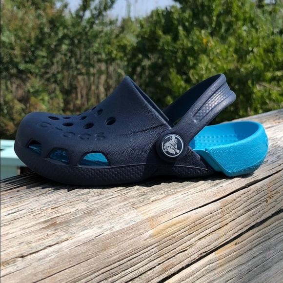 Navy//Electric Blue Crocs Electro Kids Clogs